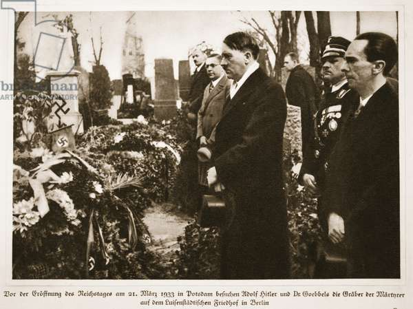 Prior to the Opening of the Reichstag on 21st May 1933 in Potsdam, Adolf Hitler and Dr. Goebbels visit the graves of Martyrs at Luisenstadt Cemetery in Berlin, from 'Germany Awakened' (litho)