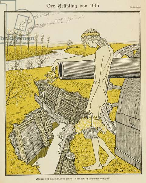 Spring in 1915, illustration from a German magazine, 'Simplicissimus', c.1915 (litho)