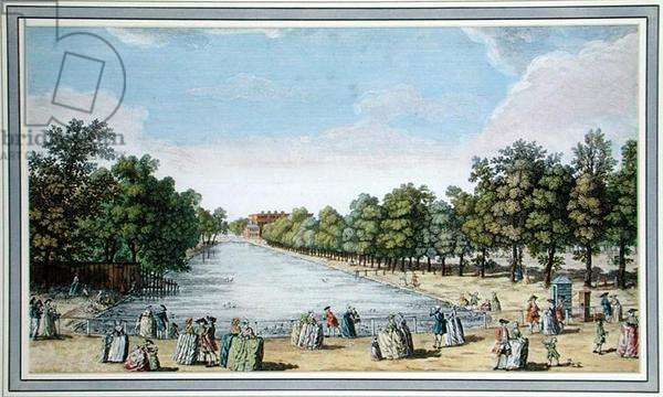 View of Formal Gardens with a Lake, probably the Long Water at Hampton Court (colour litho)