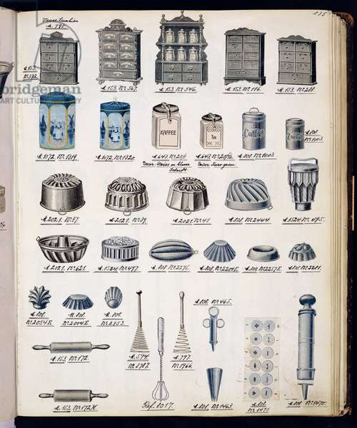 Kitchen storage and utensils from a trade catalogue of domestic goods and fittings, c.1890-1910 (colour litho)