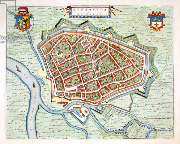 Roermond, 1649 (hand-coloured engraving)
