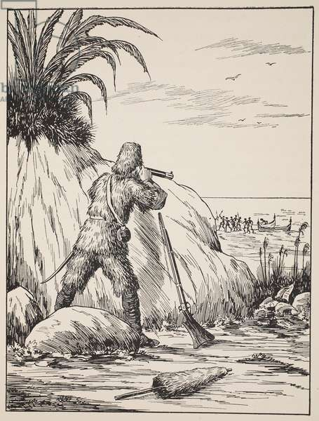 Robinson Crusoe, illustration from 'The Story of Robinson Crusoe: An adaptation for children following Defoe's language', pub. by Griffith Farran Browne & Co. Limited, London (litho)