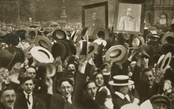 Crowd celebrating the Kaiser's Proclamation of War against Great Britain, Berlin, 4 August, 1914 (b/w photo)