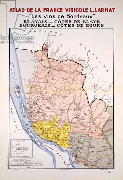 Map of the Bordeaux Region just East of the Girond, illustration from 'Atlas de la France Vinicole' by Louis Larmat, published 1942 (colour litho)