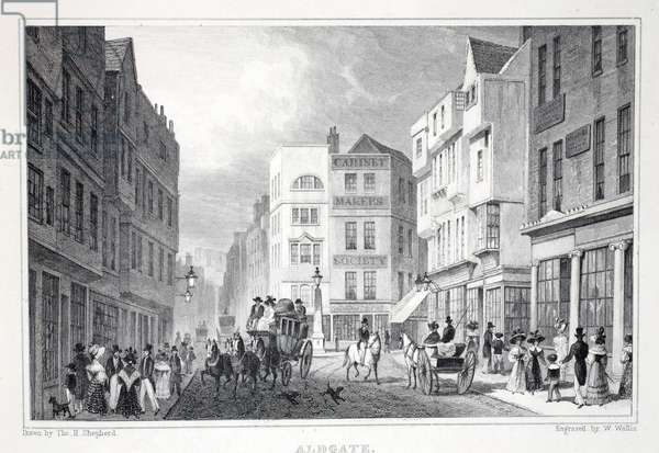 Aldgate, from 'London and it's Environs in the Nineteenth Century' pub. Jones & Co., 1827-1829 (engraving)