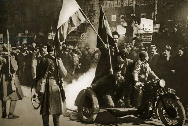 On the morning after General Simovic's coup, Belgrade was the scene of excited demonstrations against the Axis Powers, 28th March 1941 (b/w photo)