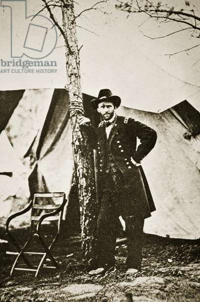 General Grant by Tree, City Point, 1864 (b/w photo)