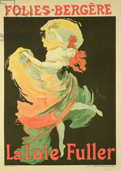Reproduction of a Poster Advertising 'Loie Fuller' at the Folies-Bergere, 1893 (litho)