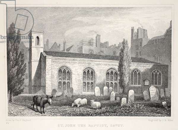 Church of St John the Baptist, Savoy, from 'London and it's Environs in the Nineteenth Century' pub. Jones & Co., 1827-1829 (engraving)