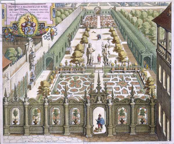 The Garden of Burgermeister Schwind, from 'Florilegium Renovatum', by Theodore de Bry (1528-98), published 1641 (coloured engraving)