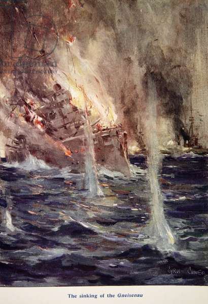 'The Sinking of the Gneisenau', illustration from 'Told in the Huts: The YMCA Gift Book', published 1916 (colour litho)