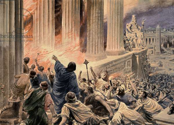 The Burning of the Library at Alexandria in 391 AD, illustration from 'Hutchinsons History of the Nations', c.1910 (later colouration) (litho)
