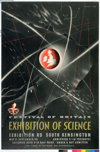 Poster advertising the Exhibition of Science, part of the Festival of Britain, 1951 (coloured litho)