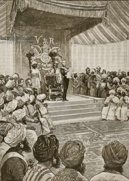 Proclamation of the Queen as Empress of India in 1877, illustration from 'Cassell's Illustrated History of England' (engraving) (sepia photo)