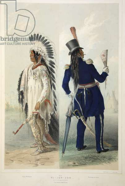 Wi-Jun-Jon, an Assinneboin Chief, from Catlin's North American Indian Portfolio. Hunting Scenes and Amusements of the Rocky Mountains and Prairies of America, pub. 1845 (colour litho)