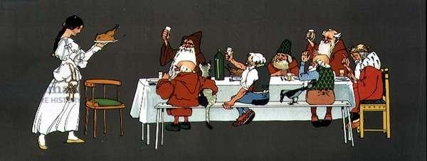 Snow White and the Seven Dwarfs, c.1912 (block print)
