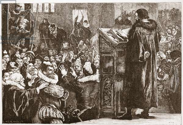 Calvin threatened in the church of Rive, illustration from 'The History of Protestantism' by James Aitken Wylie (1808-1890), pub. 1878 (engraving)