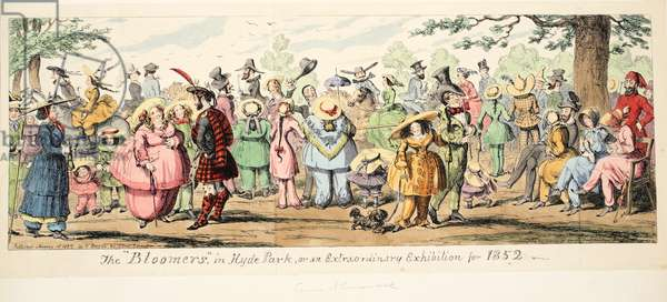 """The """"Bloomers"""" in Hyde Park or An Extraordinary Exhibition for 1852, pub. 1852 (hand coloured engraving)"""