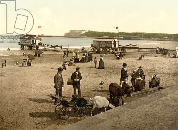 The Beach at Weymouth, c.1890 - 1900 (chromolithograph)