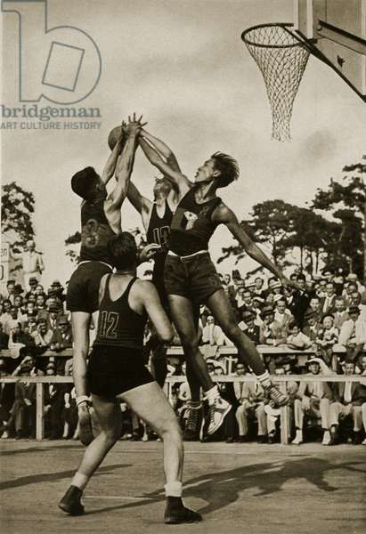 A magnificent snapshot from the basketball match between the Philippines and Mexico, 1936 (b/w photo)
