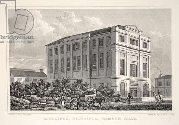 Buildings, Highfield, Camden Road, from 'London and it's Environs in the Nineteenth Century' pub. Jones & Co., 1827-1829 (engraving)