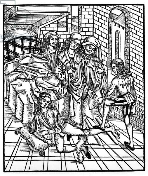 Surgeon directs as an assistant breaks and resets a leg, from 'Das Buch der Cirugia', published Strasbourg, 1497 (litho) (b/w photo)