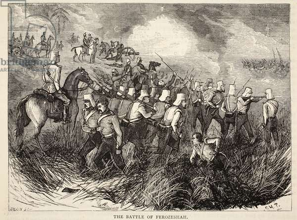 The Battle of Ferozeshah, illustration from 'Cassell's Illustrated History of England' (engraving)