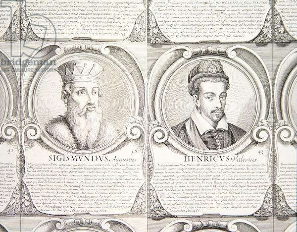 Sigismund II, Augustus, and Henry de Valois, no. 42 and 43 from 'Series Chronologica Ducum et Regum Polonorum' (engraving)