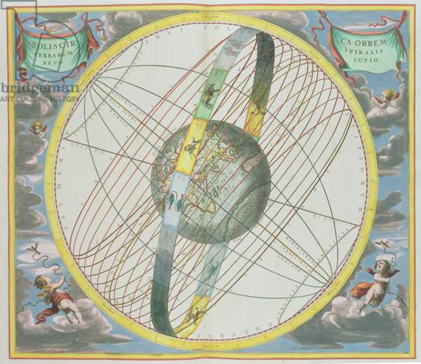 Map Charting the Orbit of the Moon around the Earth, from 'A Celestial Atlas, or The Harmony of the Universe' (Atlas coelestis seu harmonia macrocosmica) pub. by Joannes Janssonius, Amsterdam, 1660-61 (hand coloured engraving)