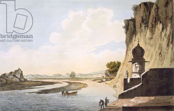 Pl. 26 A View of the Gaut at Etawa, on the Banks of the River Jumna, from 'Select Views in India', pub. 1785-88 (coloured etching with aquatint)