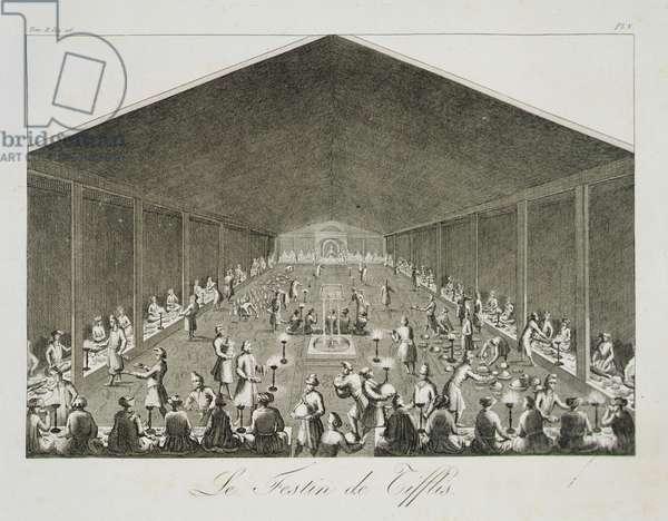 A Feast at Tiflis, from 'Voyages du Chevalier Chardin en Perse, et autres Lieux d'Orient', by Jean Chardin (1643-1713), published 1811 (engraving)