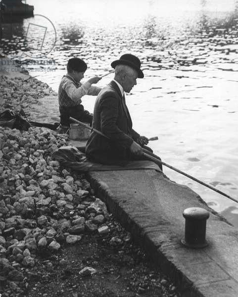 Man and Boy Fishing, Paris 1935