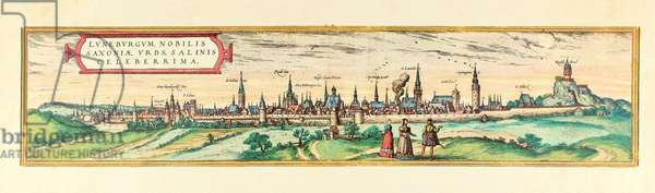 Lüneburg, view of the city, c.1580 (colour etching)