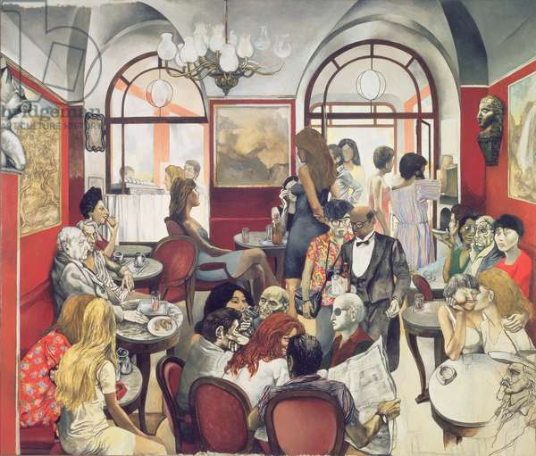 In the Cafe (oil on canvas)
