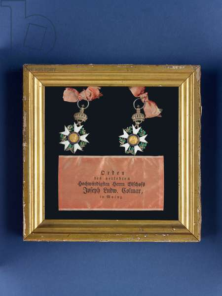 Two medals of the French Legion d'Honneur, from the possessions of Bishop Joseph Ludwig Colmar, 1804 and 1805 (silver, enamel & silk) (see also 1630263-4)