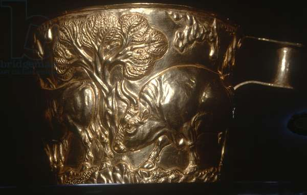 Cup, depicting a charging bull, found in the royal tomb of Vaphio, Sparta, late Minoan I, c.1500 BC (gold)