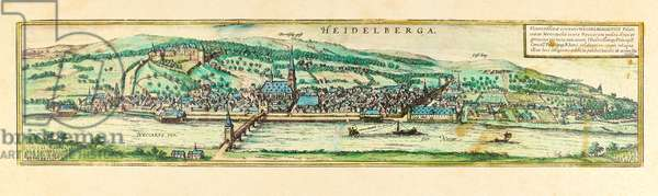 Heidelberg, view of the city, c.1580 (colour etching)