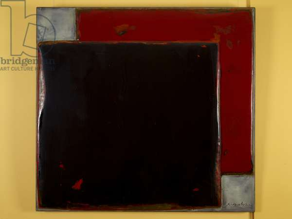The Dynasty of Colours: Black Over Red, 2009 (oil, lacquer & jute on wood)