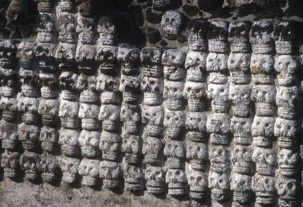 A wall of human skulls, Templo Mayor, Tenochtitlan (photo)