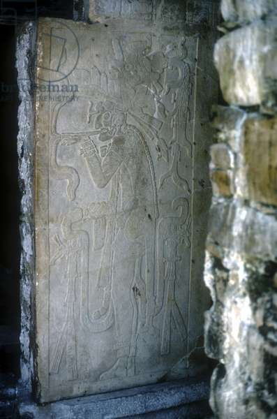 Relief depicting a smoking man, from the Temple of the Cross, built 692 (carved stone)
