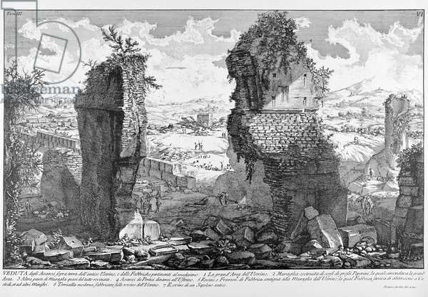 Rome, View of the ruins of ancient Ustrinum (at Via Appia), c.1747-78 (engraving)