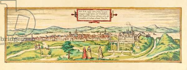 Buda, view of the city, c.1580 (colour etching)