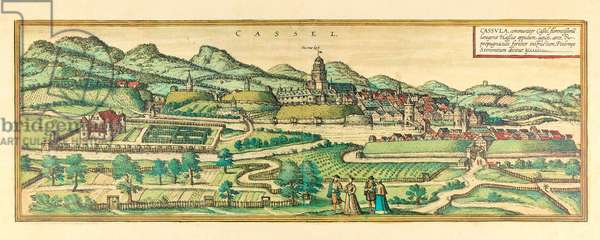 Kassel, view of the city, c.1580 (colour etching)