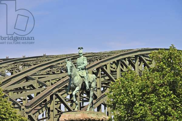 Equestrian statue of Wilhelm II by Louis Tuaillon the Hohenzollern bridge, Cologne, Germany (photo)