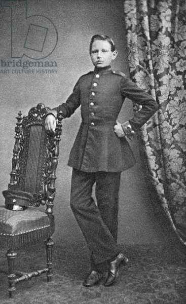Paul von Hindenburg as a cadet, Wahlstatt, 1860 (b/w photo)