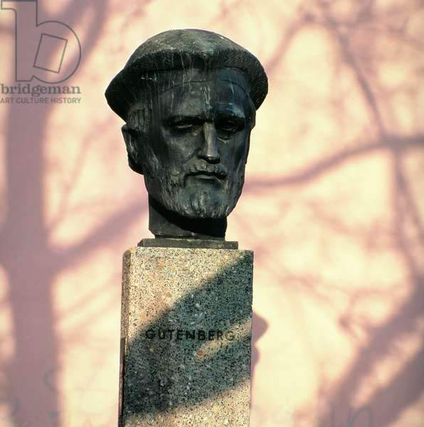 Portrait bust of Johannes Gutenberg (c.1400-66) 1962 (bronze)