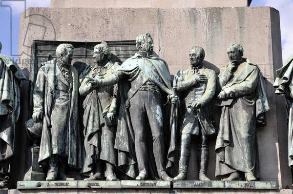 Figures of Alexander von Humboldt, Barthold Georg Niebuhr, August Neidhardt von Gneisenau, Ernst Moritz Arndt, Friedrich of Motz, at the monument of King Frederick William III of Prussia, by Gustav Blaeser, Cologne, Germany (photo)