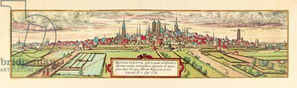 Muenster, view of the city, c.1585 (colour etching)