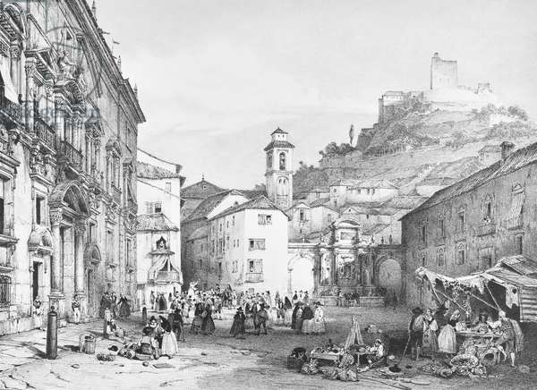 Plaza Nueva in Granada, behind the Alhambra (litho)