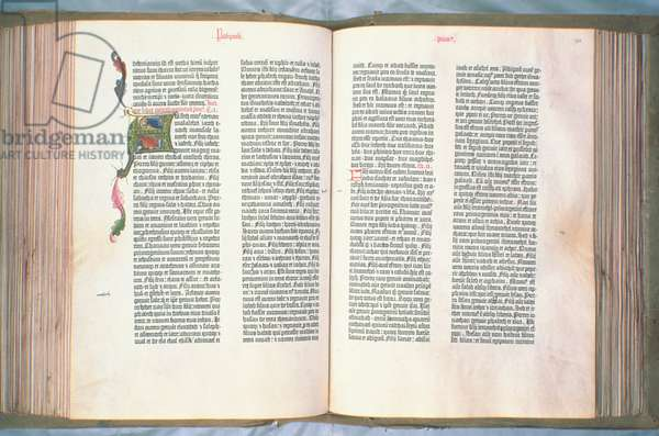 Two folios from a Gutenberg Bible, printed in the workshop of Johannes Gutenberg in 1455 (vellum) (for detail see 194462)
